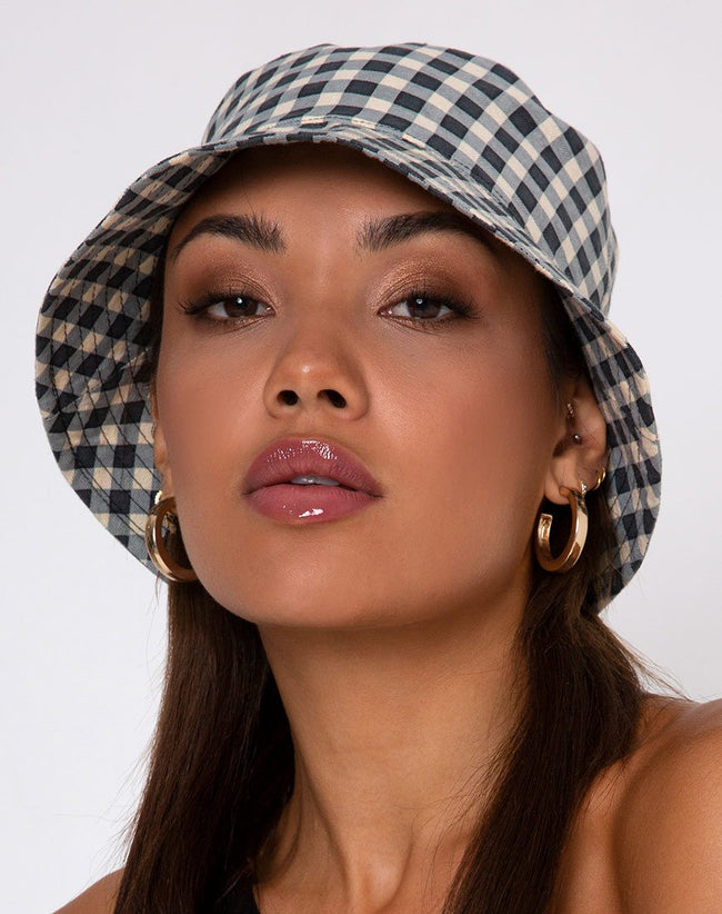 Bucket Hat in Gingham Cream