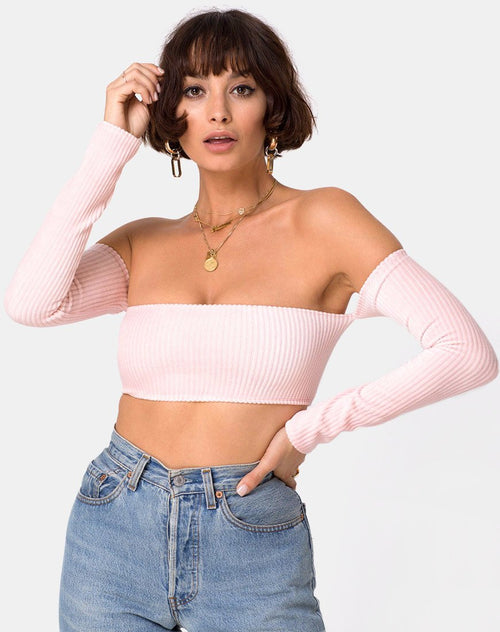 Ganis Long Sleeve Crop Top in Fluffy Knit Candy by Motel