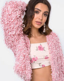 Gasta Cardi in Shaggy Knit sugar Pink by Motel