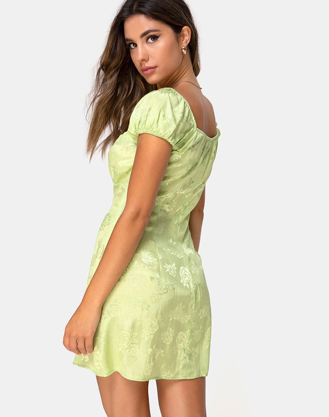 Gaval Mini Dress in Satin Rose Lime by Motel