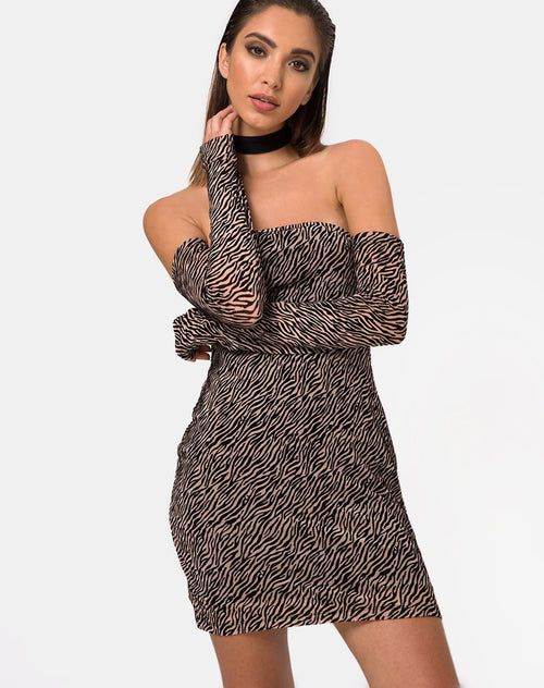 Geneva Bodycon Dress in Tiger Net Tan By Motel