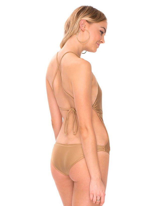 Glamazon Plunge Neck Swimsuit in Soft Gold by Motel