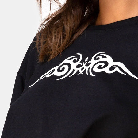 Gocea Crop Top in Black with White Tribal by Motel