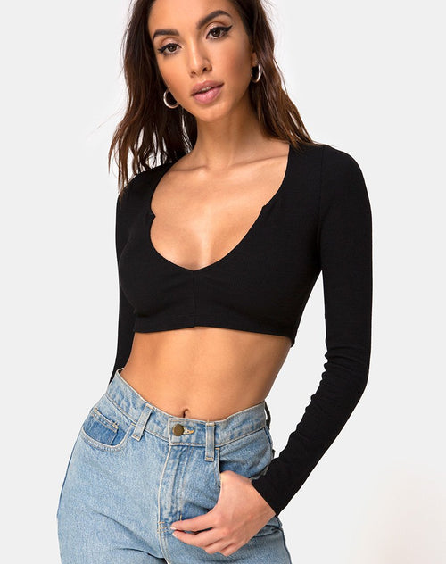 Guan Crop Top in Rib Black by Motel
