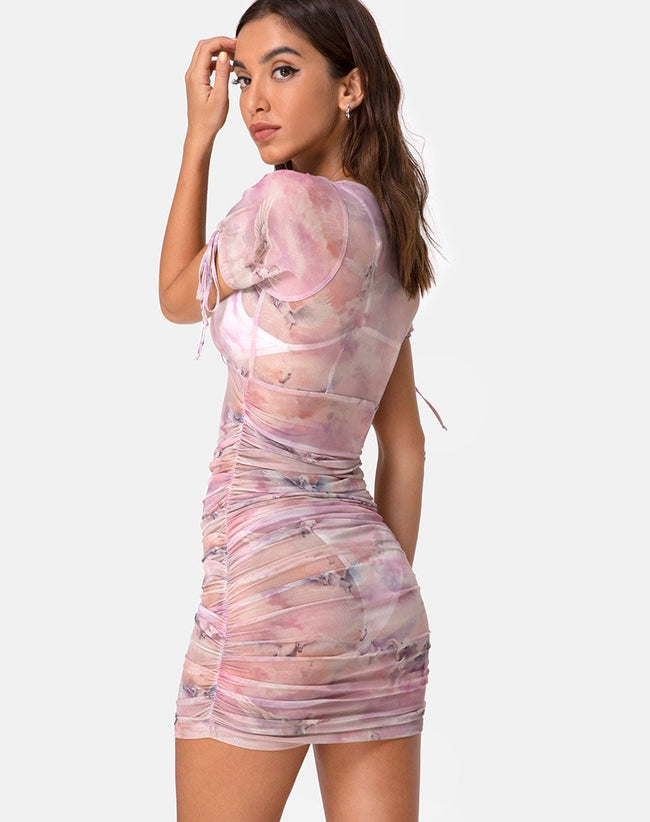 Guenetta Dress in Pegasus Pink Mesh by Motel