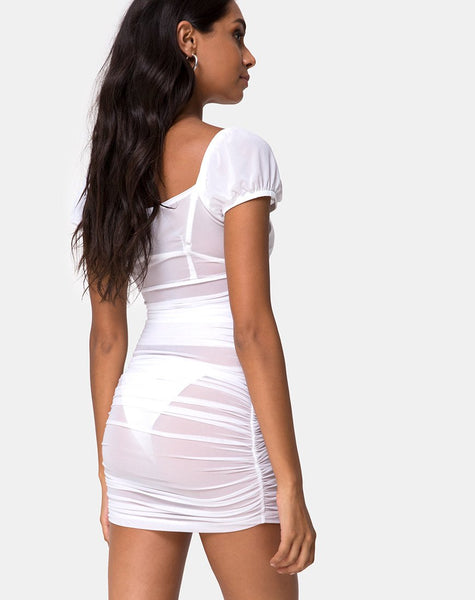 Guenetta Dress in White Net by Motel