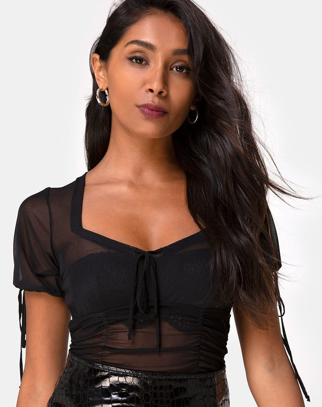 Guinevre Top in Black Net by Motel