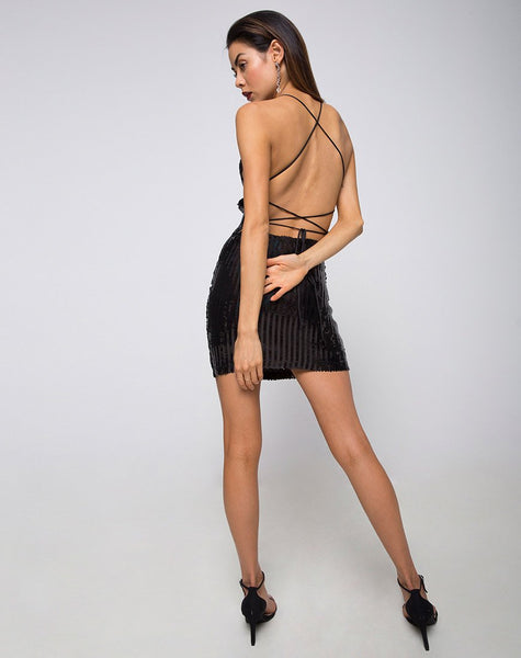 Hedi Dress in Fishcale Sequin Black Iridescent by Motel