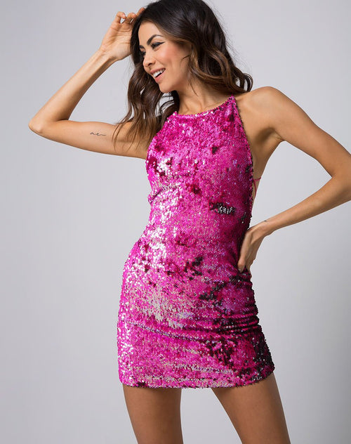 Hedi Dress in Fishscale Sequin Pink by Motel