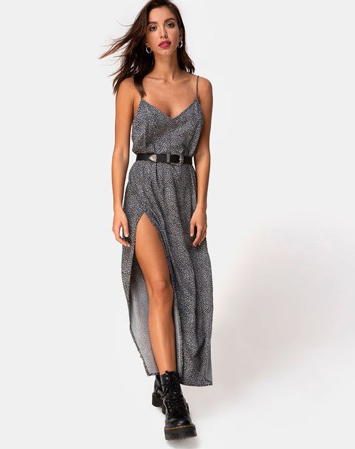 Hime Maxi Dress in Ditsy Leopard Grey