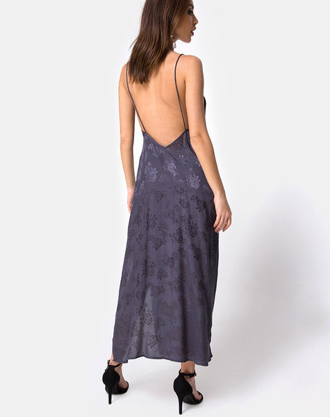 Hime Maxi Dress in Satin Grey Rose by Motel