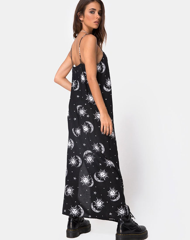 Batis Maxi Dress in Sun Moon Stars BW by Motel