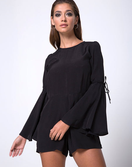 Drille Cutout playsuit in Black by Motel