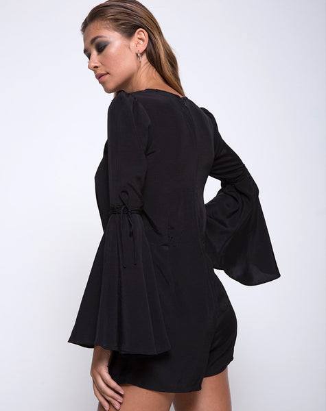 Holila Flute Sleeve Playsuit in Black