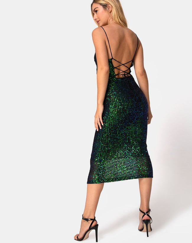 Humia Midi Dress in Drape Net Sequin Iridescent Green by Motel