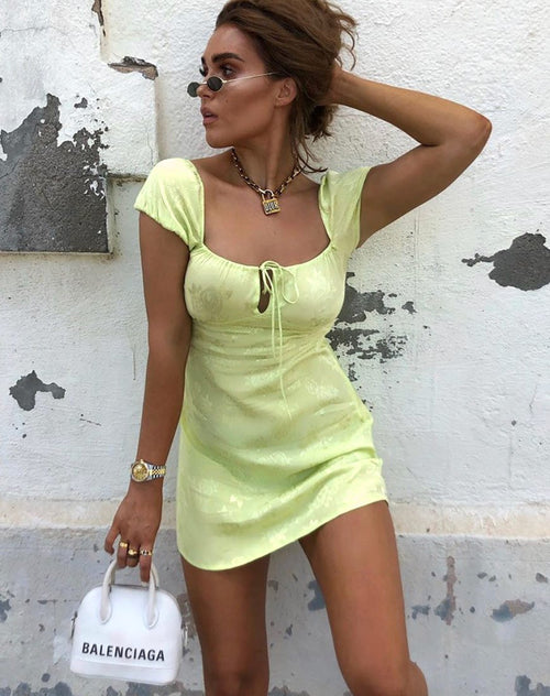 Gaval Mini Dress In Satin Rose Lime