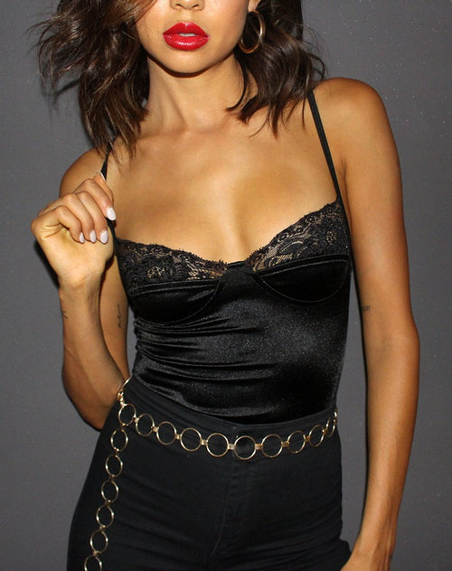 Letta Bodice in Black with Lace Trim by Motel