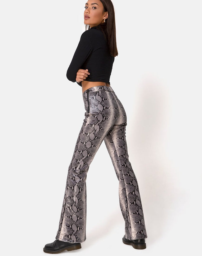 Jeden Trouser in PU Beige Snake by motel