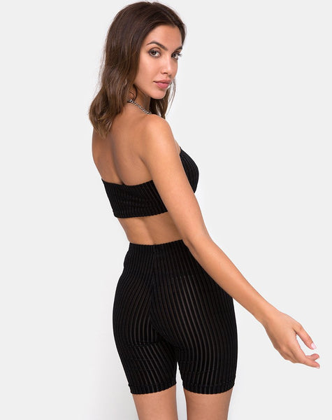 Bike Short in Velvet Sheer Stripe Black by Motel X Princess Polly