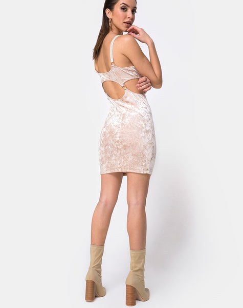 Jezabel Dress in Crushed Velvet Cream By Motel