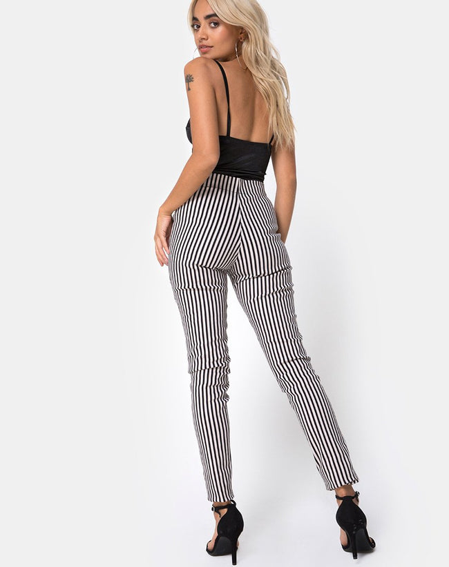 Jolim Trouser in Mini Pinstripe Black and Nude by Motel