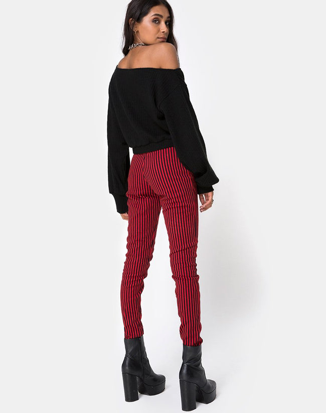 Jolim Trouser in Mini Stripe Red and Black by Motel