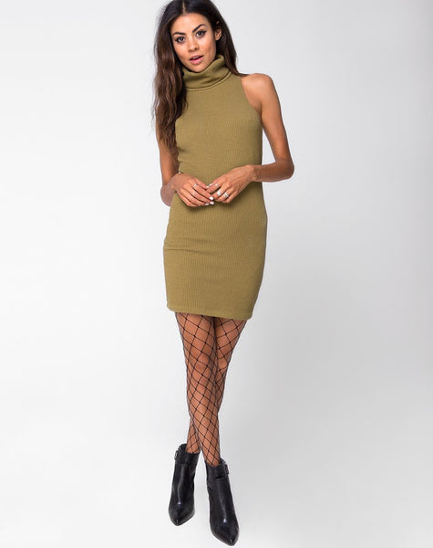 Jourdana Bodycon Dress in Jumbo Rib Olive by Motel