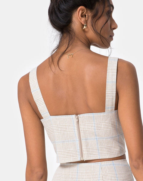 Kaira Crop Top in Tonal Plaid Almond by Motel