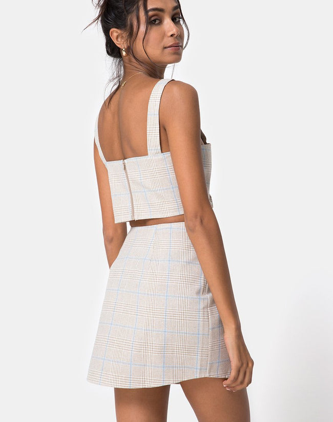 Wrap Over Skirt in Tonal Plaid Almond by Motel