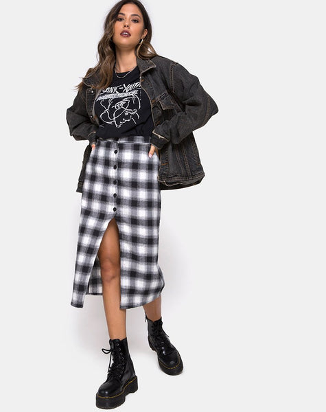 Kaisa Midi Skirt in Plaid Black White by Motel