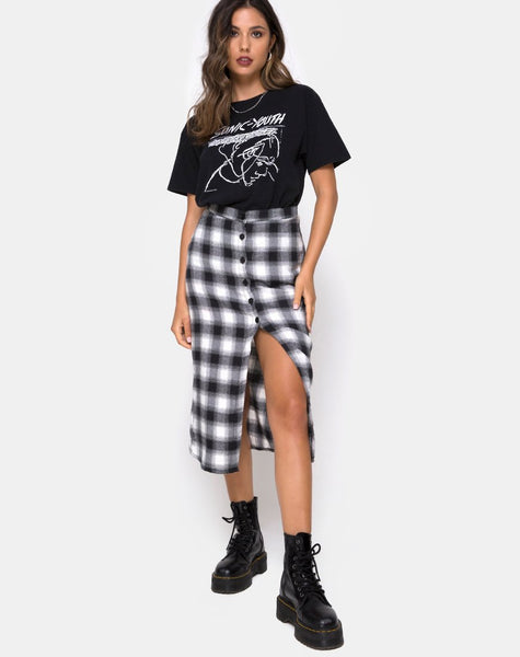 Kaisa Midi Skirt in Plaid Black and White by Motel