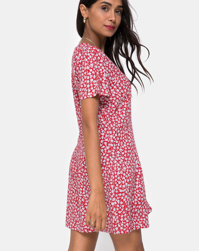Kalea Dress in Ditsy Rose Red and Silver by Motel