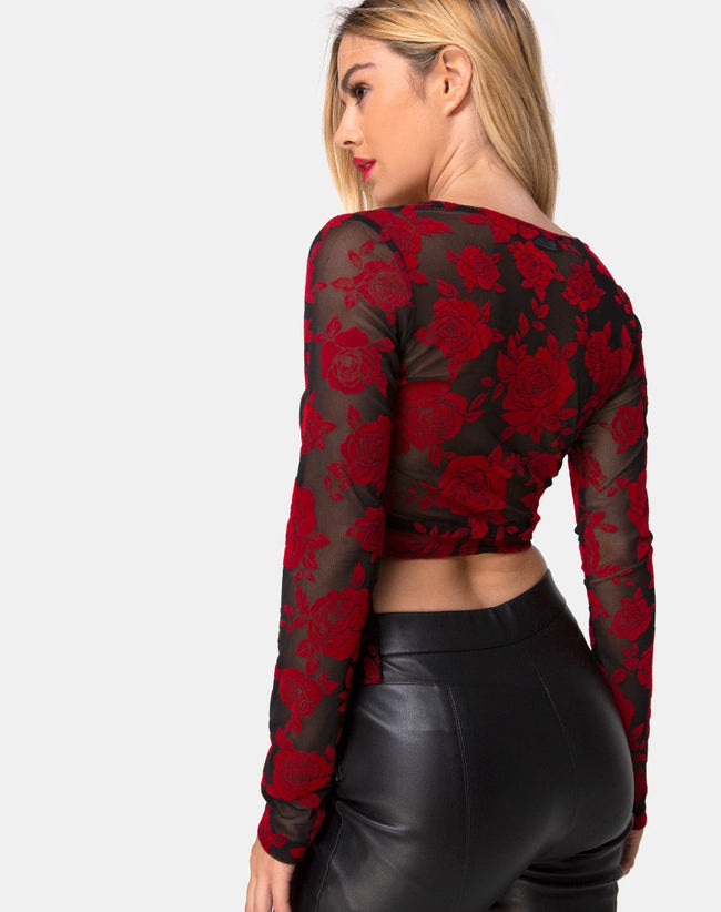 Kayak Wrap Top in Romantic Red Rose Flock by Motel
