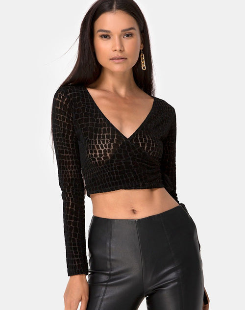 Kayak Wrap Top in Croc Flock Black by Motel
