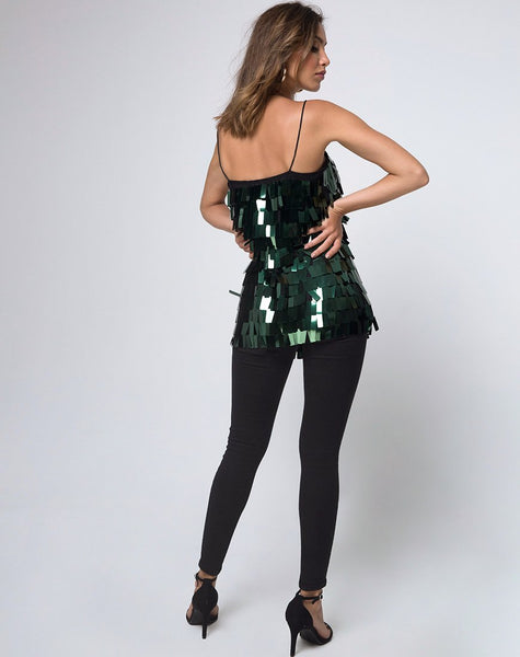 Keke Long Top in Dangle Sequin Forest Green by Motel