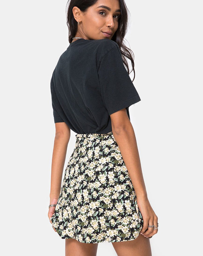 Khabel Skater Skirt in Aster Black by Motel