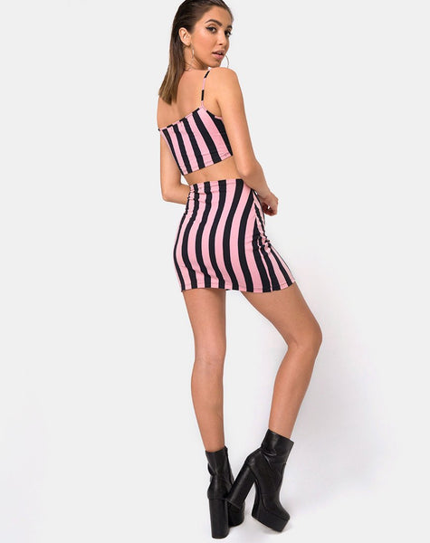 Kimmy Bodycon Skirt in Campbell Stripe by Motel