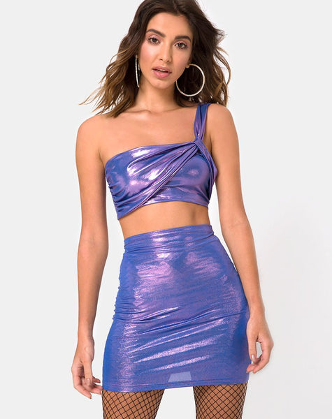 Kimmy Mini Skirt in Metallic Shimmer Lavender by Motel