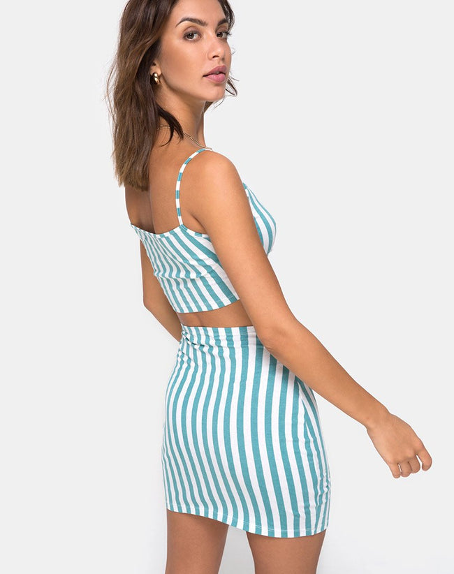 Kimmy Mini Skirt in Mid Stripe by Motel