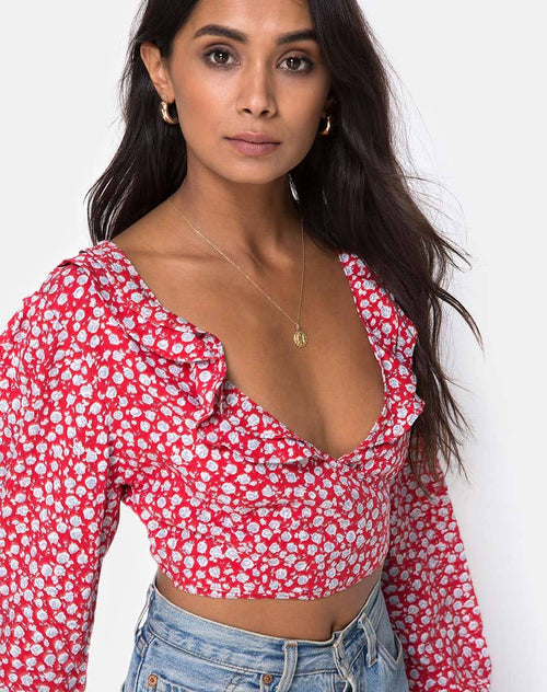 Koniva Crop Top in Ditsy Rose Red and Silver by Motel