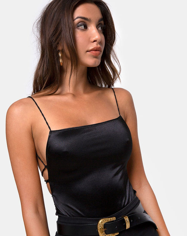 Koza Bodice in Satin Black by Motel