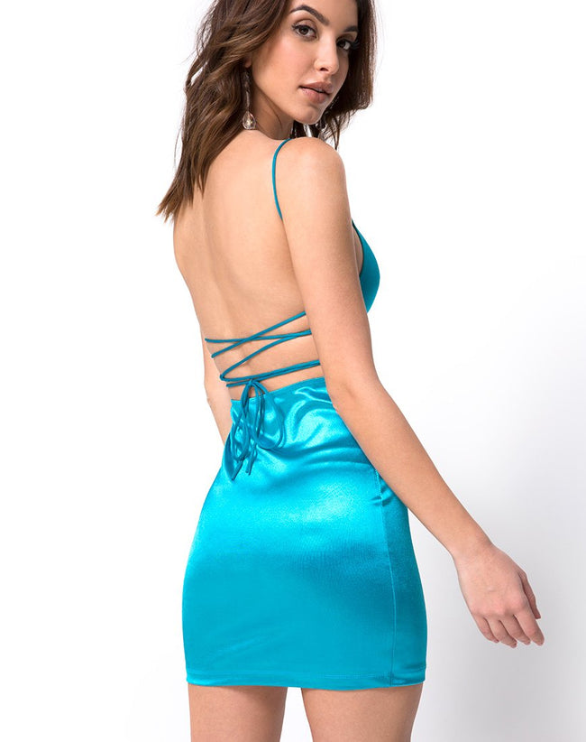 Kozue Dress in Satin Electric Blue By Motel