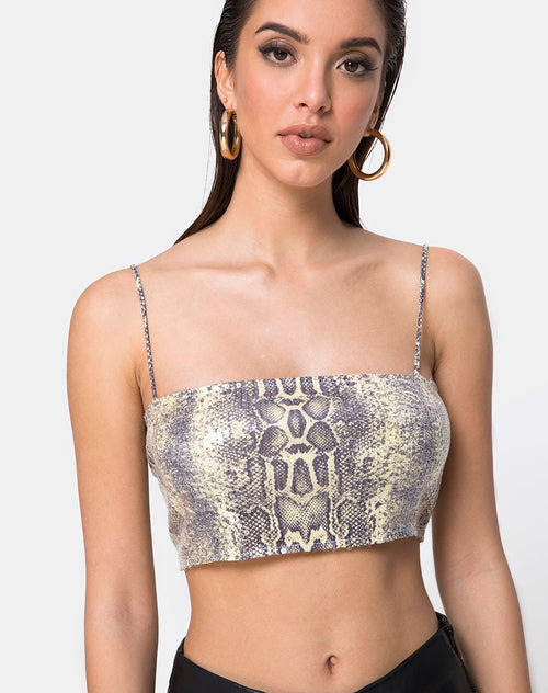 Kylie Crop Top in Acid Snake Clear Sequin by Motel
