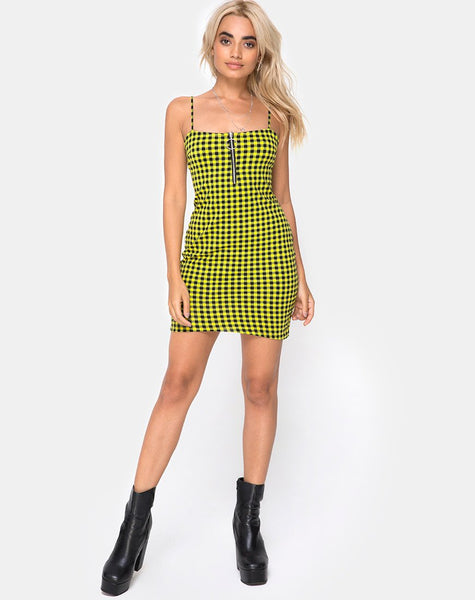 Lahzie Bodycon Dress in Medium Gingham Yellow by Motel