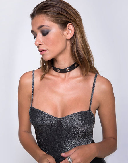 Blondie Bodice in Stripe Mesh Black by Motel