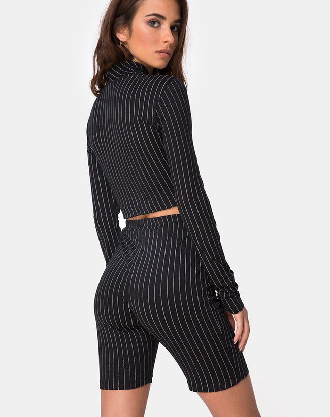 Lara Top in Pinstripe Black By Motel