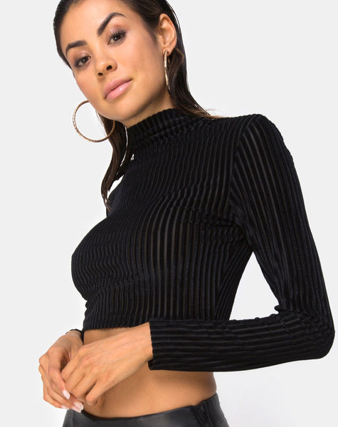 Lara Crop Top in Black Sheer Stripe by Motel