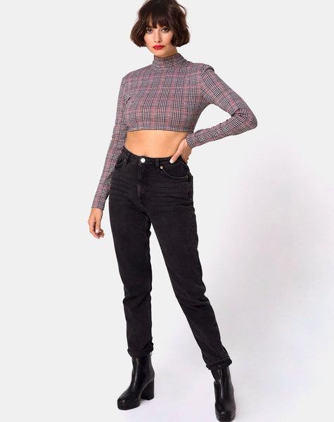 Laretta Crop Top in Charles Check Blush by Motel