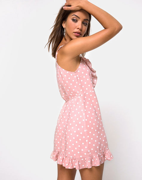 Lasky Slip Dress in Spot Stripe Pink and White by Motel
