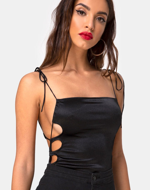 Lati Laced Up Bodice in Satin Black by Motel